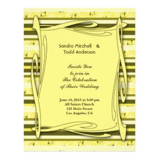 Het Groene Gele Gestreepte Huwelijk van de olijf Gepersonaliseerde Folder