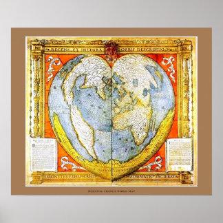 Het hart vormde de Middeleeuwse Franse Kaart van Poster