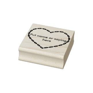 Het hartvorm 2 van de ketting de zegel van de rubberstempel