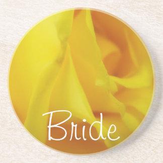 Het heldere Gele Gloeien nam Huwelijk toe Zandsteen Onderzetter