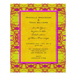 Het heldere Roze Gele Huwelijk van het Patroon Folders