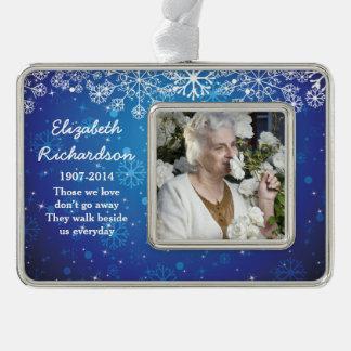 Het herdenkings Blauw van Kerstmis van Kerstmis Verzilverd Kader Ornament