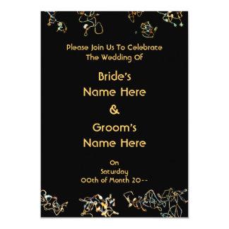 Het huwelijk nodigt in Zwarte en Gouden Kleur uit 12,7x17,8 Uitnodiging Kaart