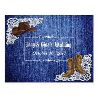 Het Huwelijk RSVP van de Laarzen & van het Kant Briefkaart