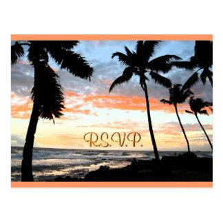 Het Huwelijk RSVP van de Palmen van het strand Briefkaart