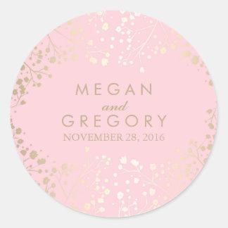 Het Huwelijk van de Adem van de gouden en Roze Ronde Sticker