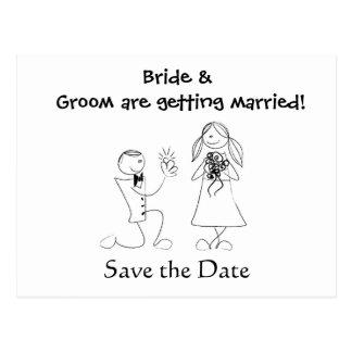 Het Huwelijk van het Paar van de cartoon bewaart Briefkaart