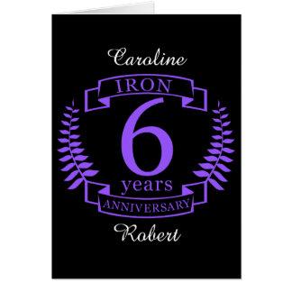 Het huwelijksverjaardag van het ijzer 6 jaar kaart