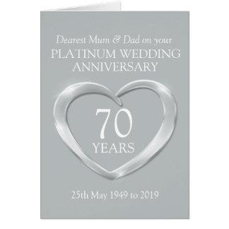 Het huwelijksverjaardag van het platina mum en notitiekaart