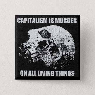 het kapitalisme is moordknoop vierkante button 5,1 cm
