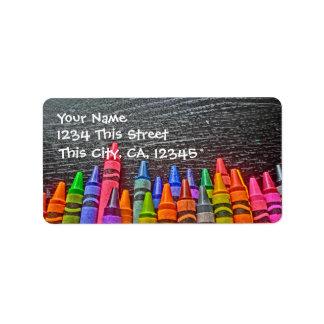 Het kleurrijke Adresetiket van het Kleurpotlood Etiket
