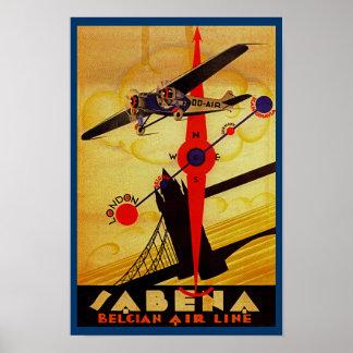 Het Kompas van het Art deco van SABENA Poster