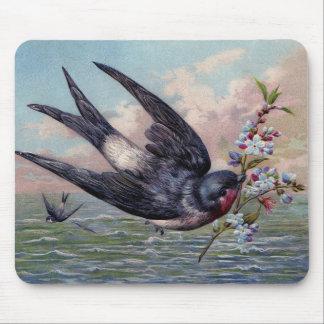 Het leuke Blauwe Rood slikt Vogel en Mooie Bloemen Muismat