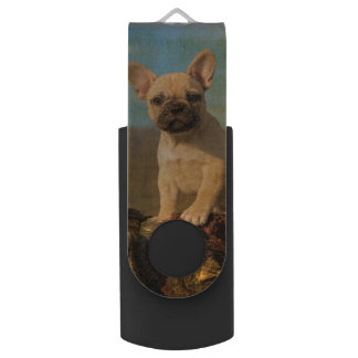 Het leuke Franse puppy van de Buldog, wijnoogst Swivel USB 2.0 Stick