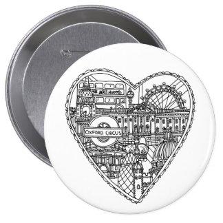 Het leuke Kenteken van Londen van de Liefde Ronde Button 4,0 Cm