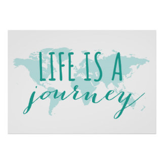 Het leven is een reis, blauwgroen wereldkaart poster