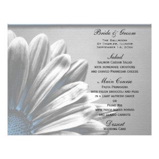 Het lichtblauwe BloemenMenu van het Huwelijk van H Fullcolor Folder