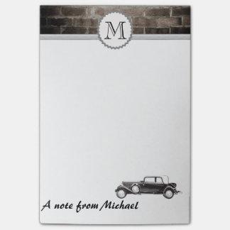 Het mannelijke Monogram van de bakstenen muur Post-it® Notes