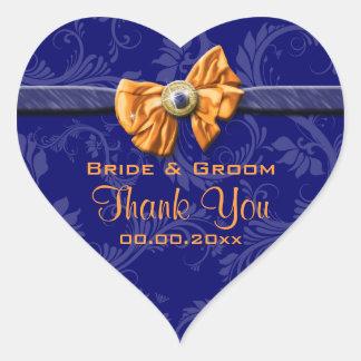 "Het marineblauwe oranje huwelijk ""dankt u"" thema hart stickers"