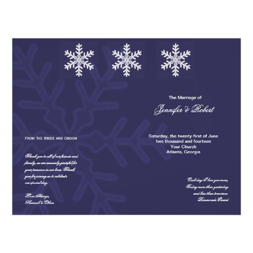 Het marineblauwe Programma van het Huwelijk van de Folder Ontwerp