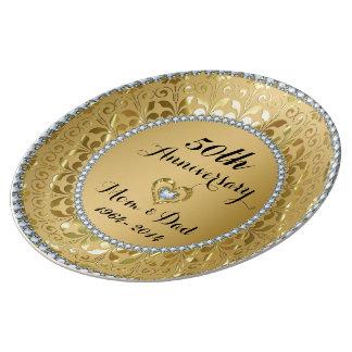 Het metaal Goud en Jubileum van Diamanten Bord Van Porselein
