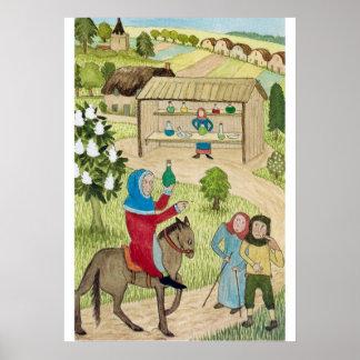Het middeleeuwse Leven in de pelgrims van Engeland Poster
