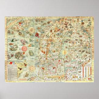 Het middeleeuwse Noordelijke Poster van de Kaart v