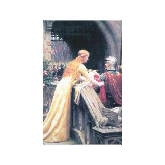 Het middeleeuwse ridderdame antiek schilderen canvas afdruk