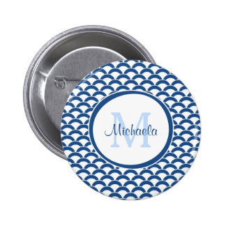Het moderne Blauwe en Witte Monogram en de Naam Ronde Button 5,7 Cm