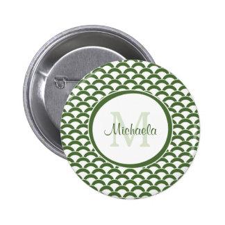 Het moderne Groene en Witte Monogram en de Naam Ronde Button 5,7 Cm