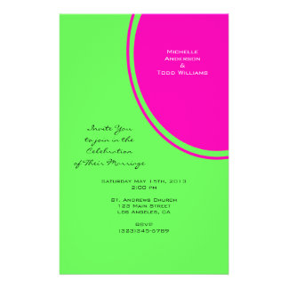Het moderne Heldergroene Roze Huwelijk van de Cirk Gepersonaliseerde Folder