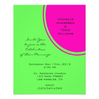 Het moderne Heldergroene Roze Huwelijk van de Flyer 11,4 X 14,2 Cm