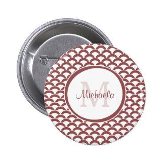 Het moderne Rooskleurige Bruine Witte Monogram en Ronde Button 5,7 Cm