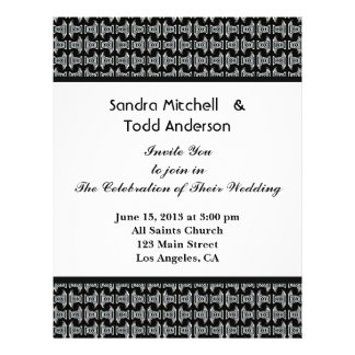 Het moderne Zwart-witte Huwelijk van het Patroon Flyer