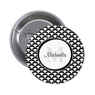Het moderne Zwart-witte Monogram en de Naam van Ronde Button 5,7 Cm