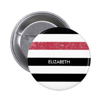 Het moderne Zwarte Witte Rood van Strepen Ronde Button 5,7 Cm