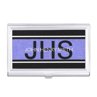 Het monogram zwart wit blauw van het mannen visitekaarthouder