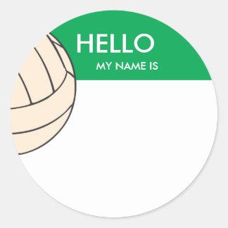 Het naamplaatje van het volleyball hello mijn naam ronde sticker