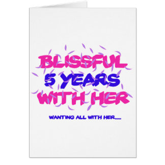Het neigende 5de design van de huwelijksverjaardag wenskaart
