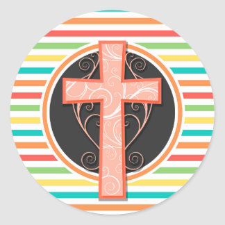 Het Oranje Kruis van het koraal De heldere Ronde Stickers