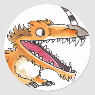 Het Oranje Monster van de groot-mond Ronde Sticker