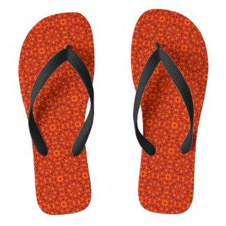Het oranje Patroon van de Bloem Teenslippers