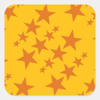 Het oranje Patroon van de Ster Vierkante Sticker