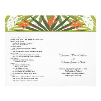 Het oranje Tropische Programma van het Huwelijk Flyer 21,6 X 27,9 Cm