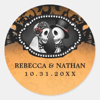 Het oranje & Zwarte Etiket van de Envelop van de Ronde Stickers