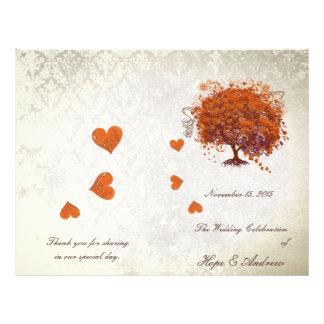 Het oranjerode Programma van het Huwelijk van de Flyer 21,6 X 27,9 Cm