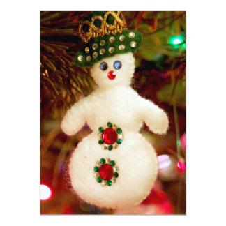 Het ornament van de Kerstboom van de sneeuwman 12,7x17,8 Uitnodiging Kaart