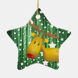 Het ornamentrendier van Kerstmis Keramisch Ster Ornament