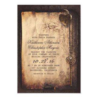 Het oude Vintage en Gotische Huwelijk van de Loper 12,7x17,8 Uitnodiging Kaart