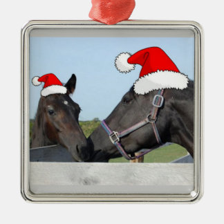 Het Paard en het Pony van Kerstmis Zilverkleurig Vierkant Ornament